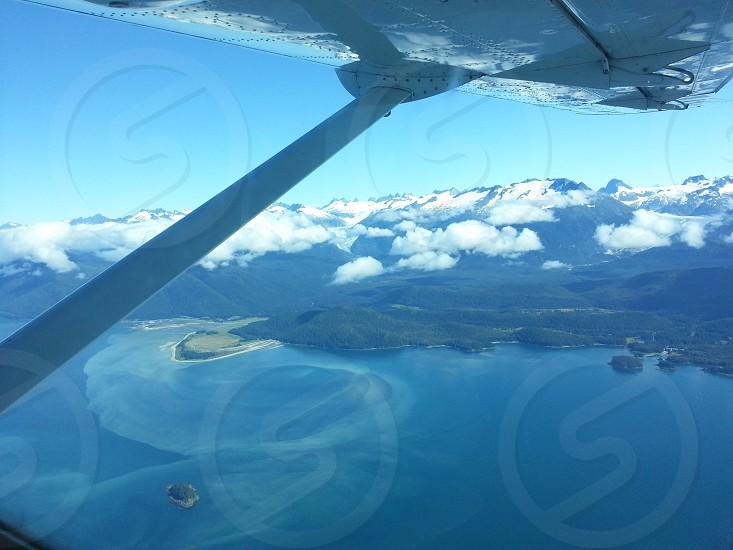 Flying over southeast Alaska in summer. photo