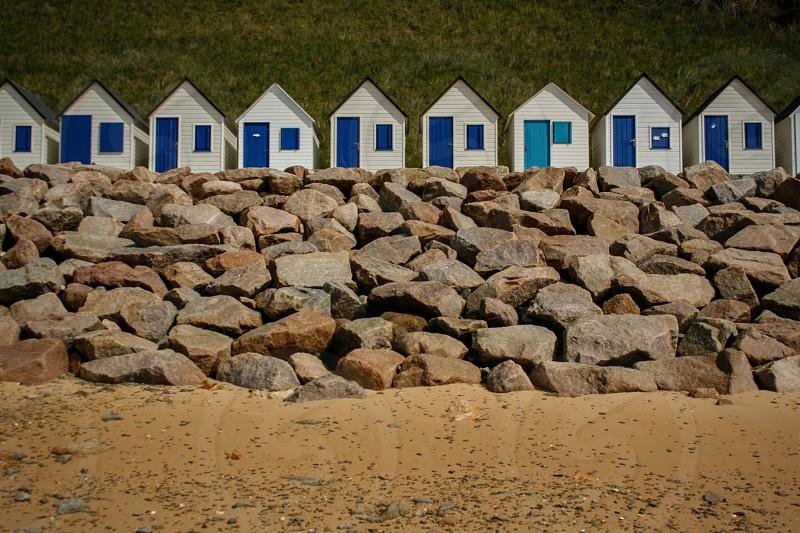 Small beach houses on the Atlantic coast near Carteret France. photo