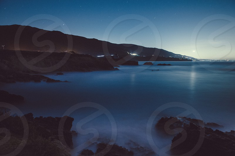 Malibu beach night stars startrailroad long exposure cars driving travel California Sky mountain photo