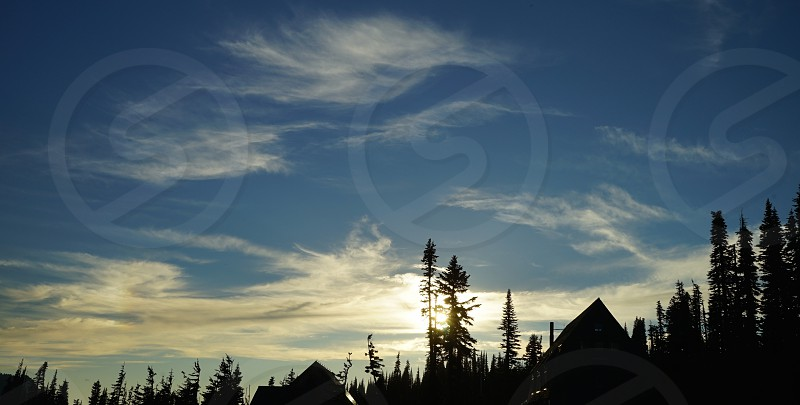 Silhouetted trees and A-frame buildings with wispy clouds against a blue sky. photo