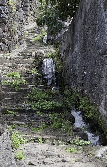 levada near old stairs from stone on the island madeira photo