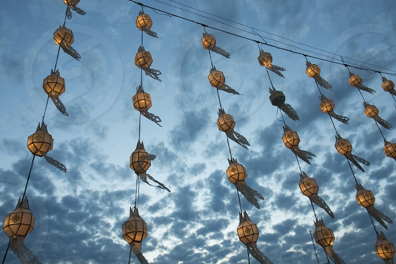 lanterns at the lake of Kwan Phayao in the city of Phayao in North Thailand. photo