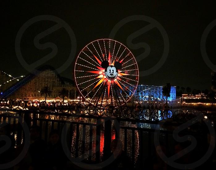 Disney Disneyland Ferris wheel night Mickey Mickey Mouse Disney California adventure Park destination travel photo