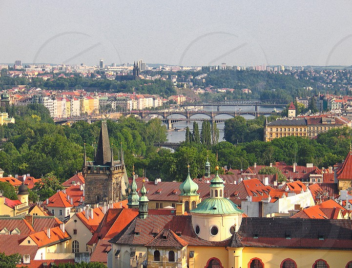View to roofs and bridges of Prague photo