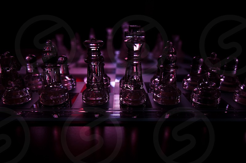 Chess game board glass pieces photo