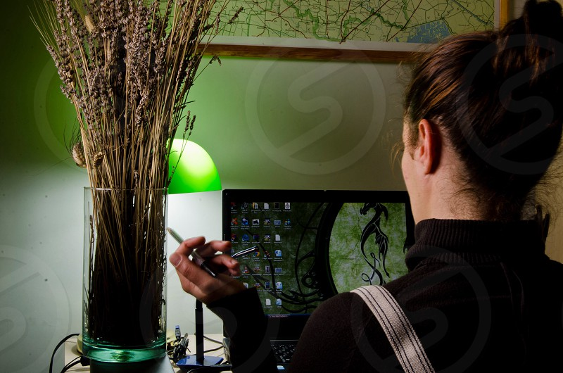 woman in front of laptop next to vase full of reeds photo
