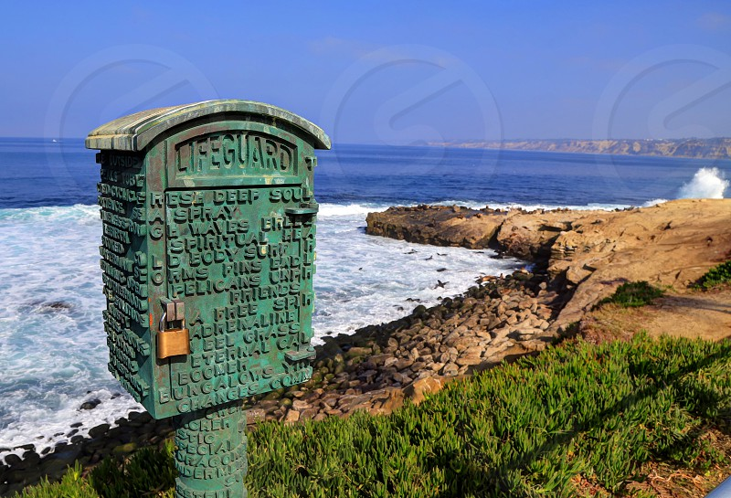 A lifeguard box near the beach in La Jolla California just outside of San Diego. photo