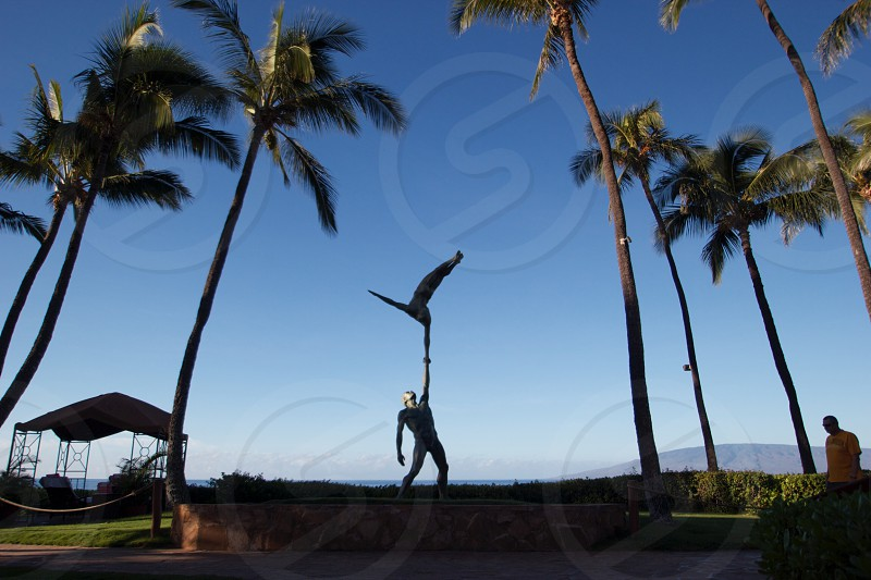 Hawaii Palm trees statue figure sculpture ocean photo