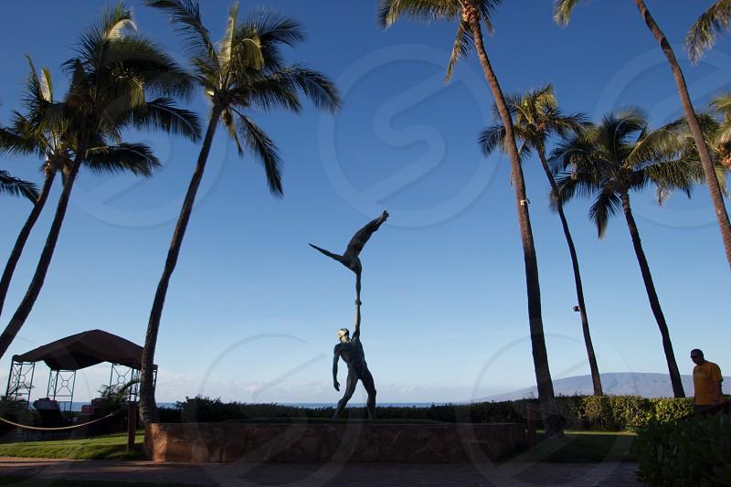 Hawaii Palm trees statue figure sculpture ocean photo