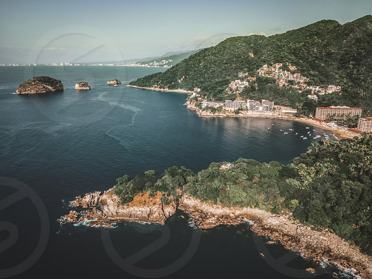 Aerial view at Playa Mismaloya and Los Arcos National Marine Park South of Puerto Vallarta Jalisco Mexico. photo
