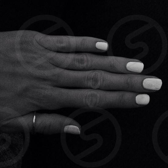 Nails nail varnish silver ring hand fingers photo