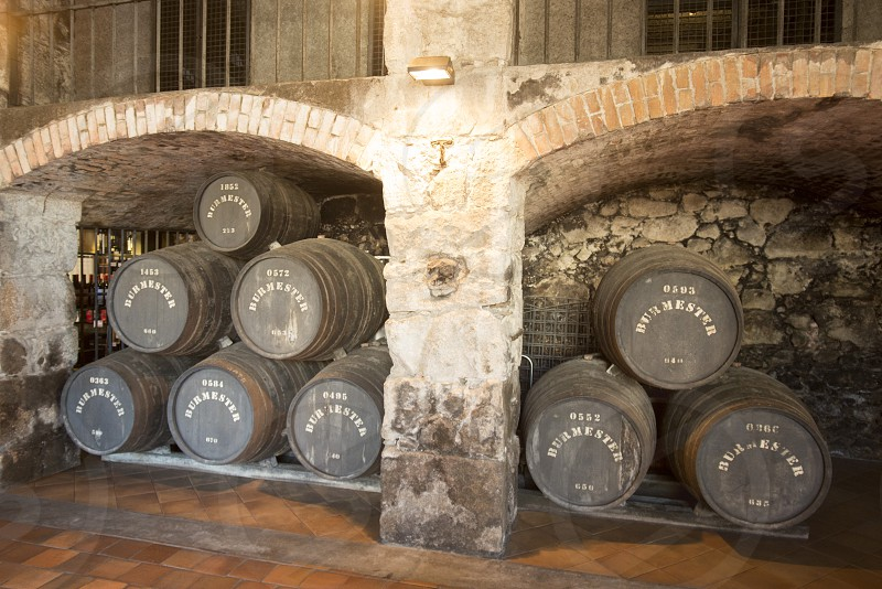 one of the Port wine Cellar of Burmester at the waterfront  on the Douro River in Ribeira in the city centre of Porto in Porugal in Europe. photo