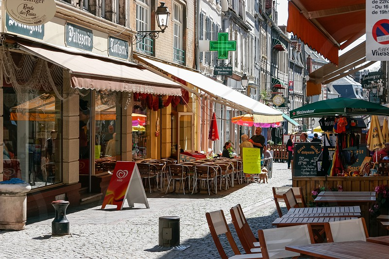 A Typical Colourful Street Scene in Boulogne photo
