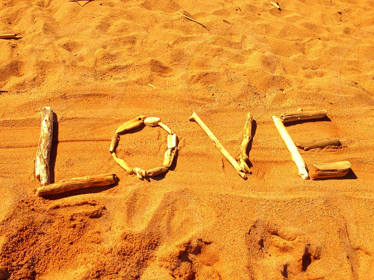 Orange love beach sand driftwood photo