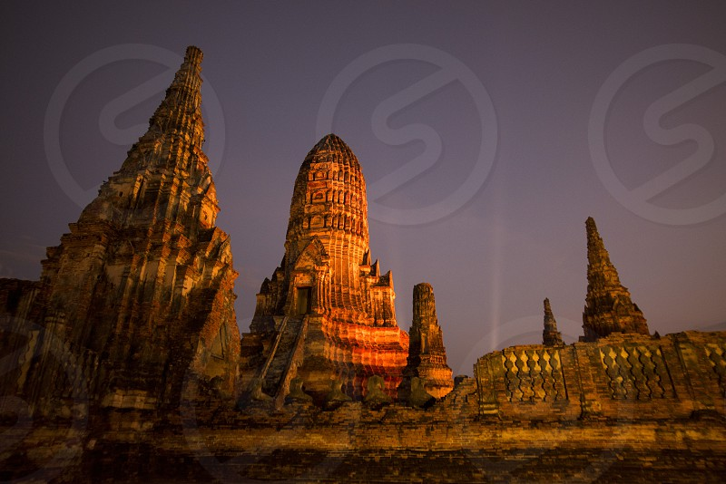 the Wat chai wattanaram in the city of Ayutthaya north of bangkok in Thailand in southeastasia. photo