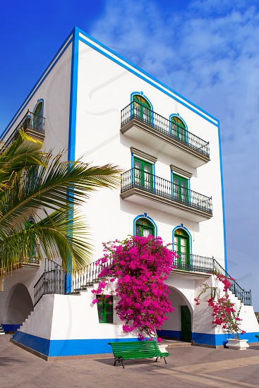 Gran canaria Puerto de Mogan white houses colonial in canary Islands photo