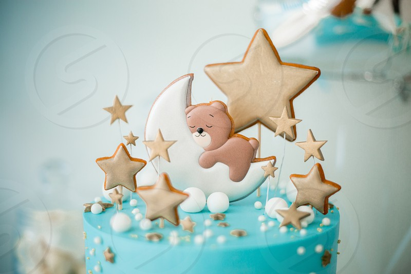 Marshmallows candle pastille blue birthday happy milkshake white bear stars cooking baby celebrations  photo