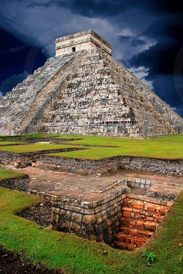 Chichen Itza Kukulcan Mayan Pyramid El Castillo over underground excavation photo
