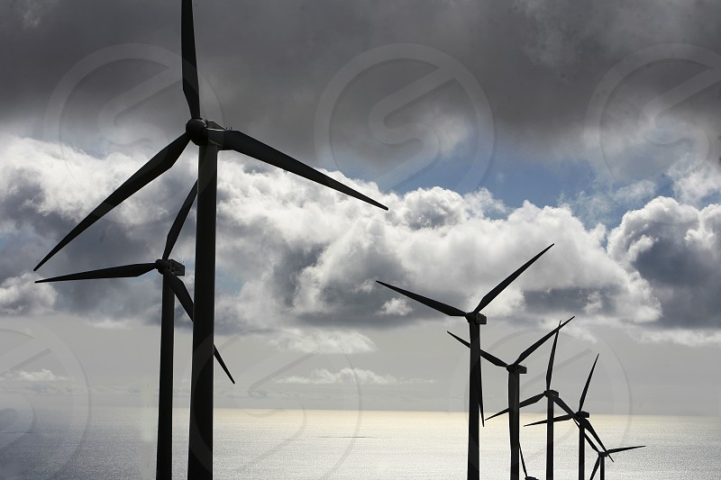 a power wind station on the Island of Lanzarote on the Canary Islands of Spain in the Atlantic Ocean. on the Island of Lanzarote on the Canary Islands of Spain in the Atlantic Ocean. photo