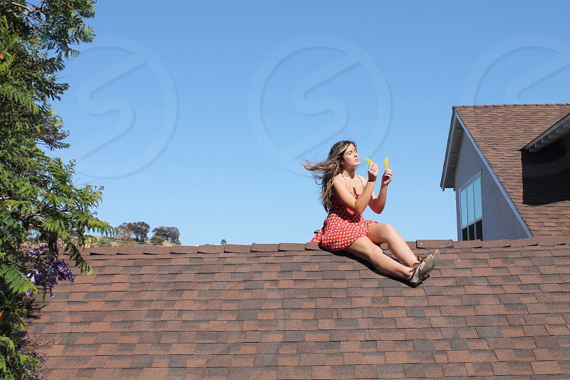 Girl in a red dress sitting on the roof photo