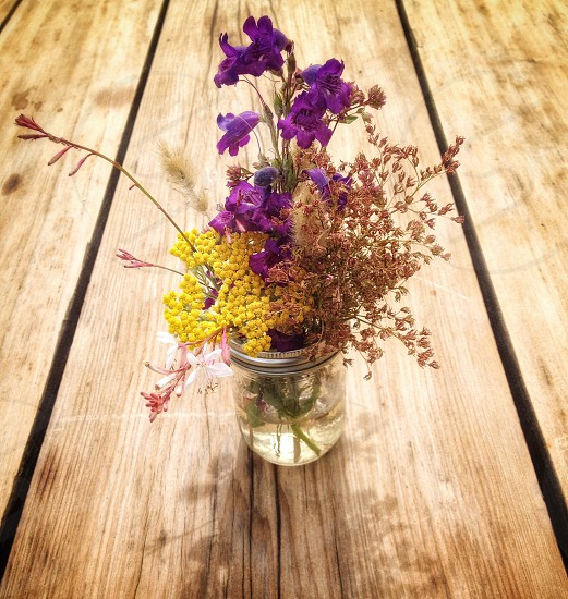 Spring flowers display decorative outside table wood picnic  photo