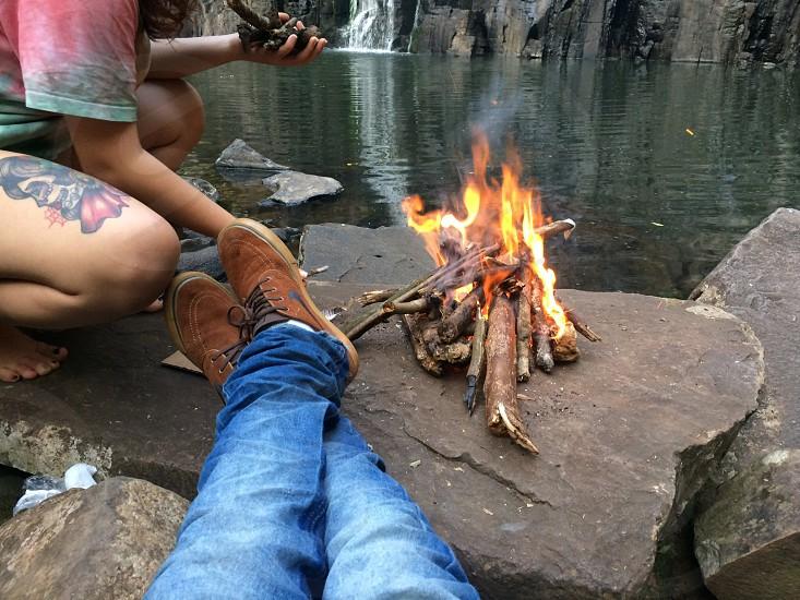 camping at the waterfall photo