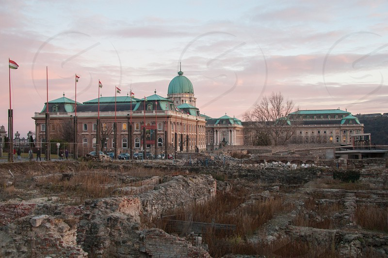 Hungarian National Gallery in Budapest Hungary. Beautiful architecture shot in the sunset.  photo