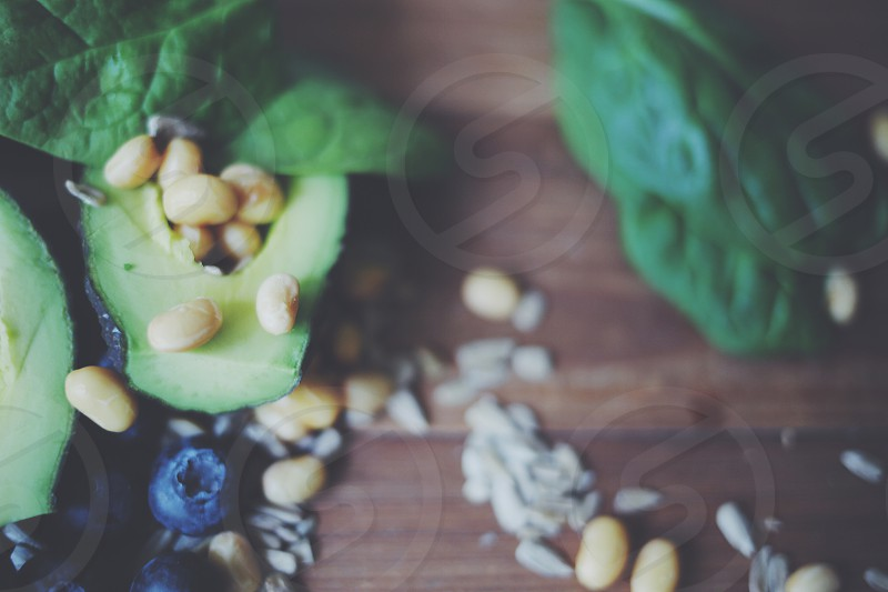 Spinach seeds avocado  blueberries photo