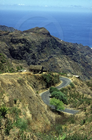 the Mountairoad near the town of Ribeira Grande on the Island of Santo Antao in Cape Berde in the Atlantic Ocean in Africa. photo