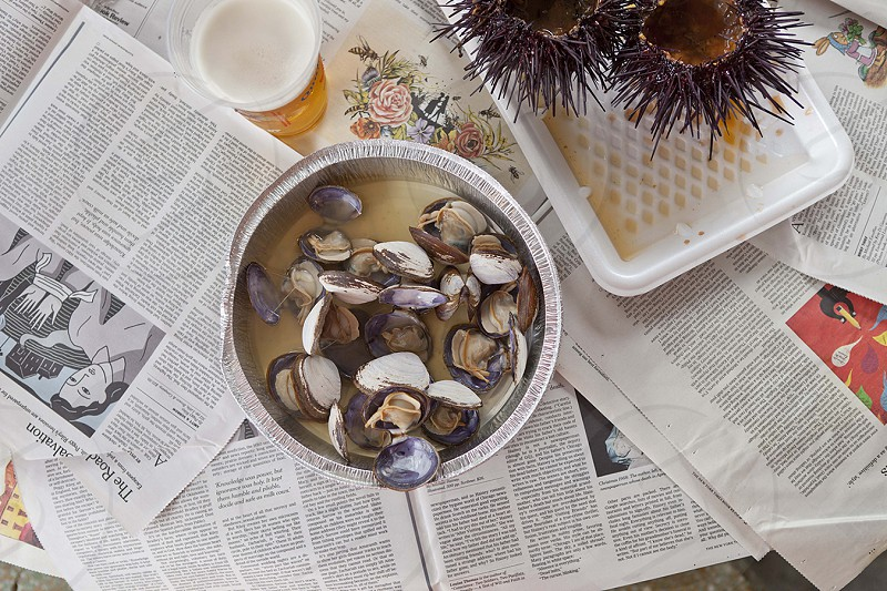 Clams and beer lunch at Quality Seafood in California. photo