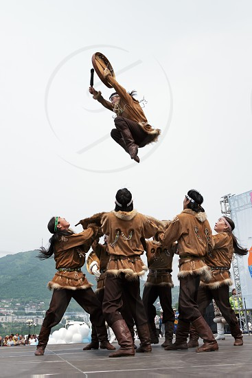 PETROPAVLOVSK-KAMCHATSKY KAMCHATKA RUSSIA - JULY 1 2012: Concert of the State Academic Koryak National Dance Ensemble Mengo. July 1 - celebration Feast Day of formation of Kamchatka Region. photo