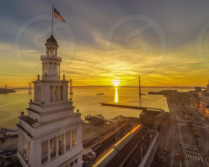 Drone photography above San Francisco City clock tower sky line sunrise photo