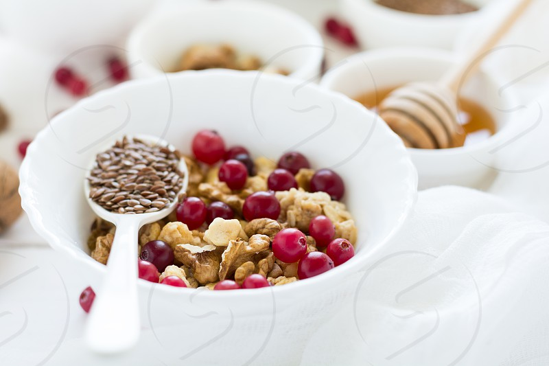 Healthy breakfast on white table photo