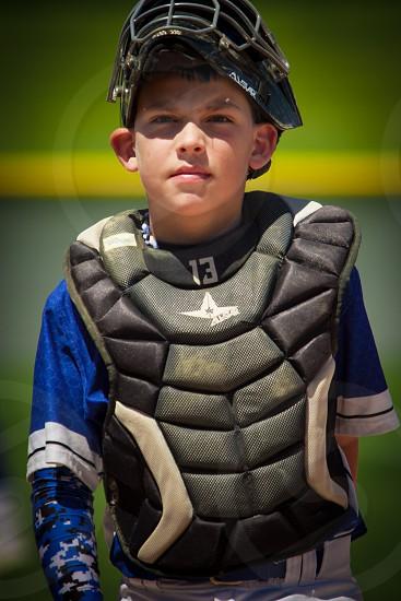 Youth Baseball catcher photo
