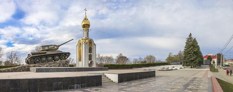 Tiraspol Moldova - 03.10.2019. Panoramic view of the Eternal Flame monumental complex near the Dniester River in the city of Tiraspol Transnistria Moldova photo