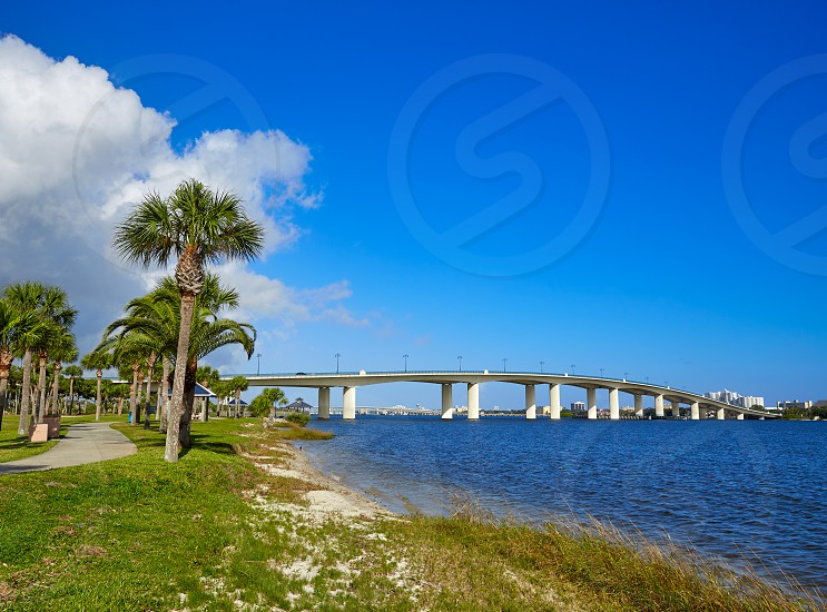 Daytona Beach Halifax river in Florida bridge and park USA photo