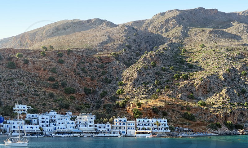 Loutro Crete / GREECE May 25 2017: panoramic view of village Loutro on soutcoat of Crete Isle (Greece). Libyan Sea. 5 separate images. photo