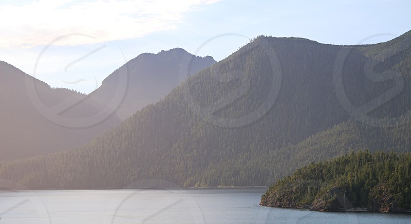 scenic mountains lake ocean trees landscape british columbia bc sky sunny colour bright vibrant daylight photo