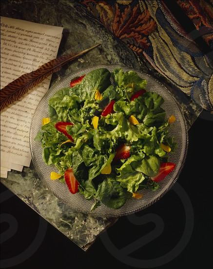 Salad on marble with tapestry and feather pen. photo