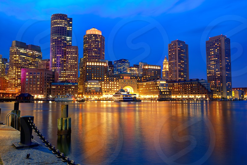 Boston sunset skyline from Fan Pier in Massachusetts USA photo