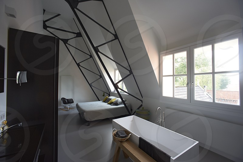 Ultra modern bathroom with very nice straight lines and designed to perfection photo