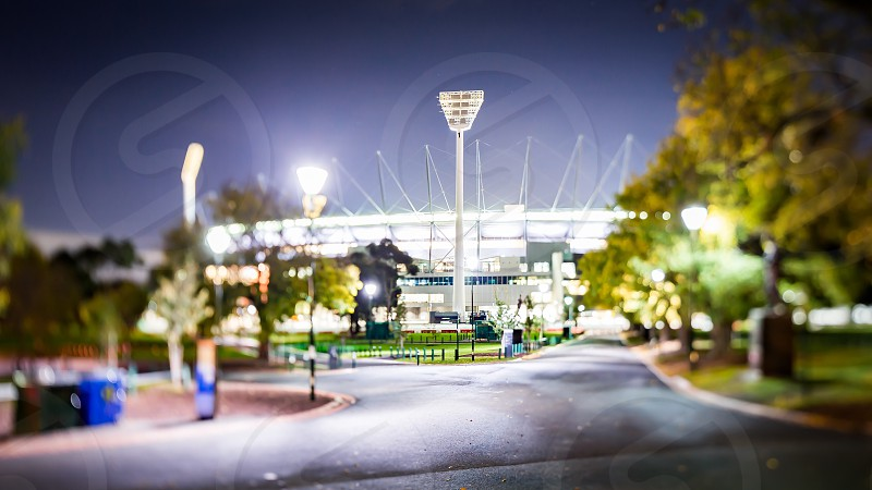 Melbourne CBD buildings architecture city skyline Ian Jones Photography tilt-shift canon long exposure night night photography iconic location Melbourne Cricket Ground MCG light tower park open space green space photo