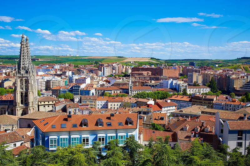 Burgos aerial view skyline with Cathedral in Castilla Leon of Spain photo