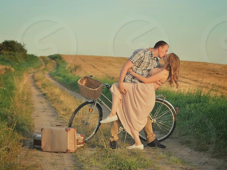 couple love kiss valentines trip bike kisses village travel adventue photo