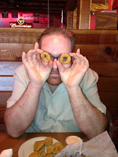Man fun fried pickles dinner silly guy food  photo