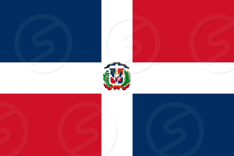 Official Large Flat Flag of Dominican Republic Horizontal photo