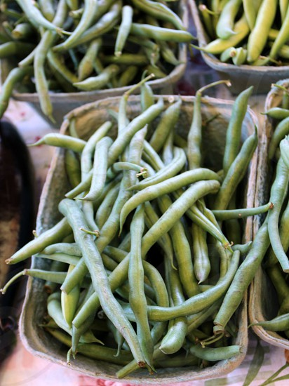 Green beans in baskets photo