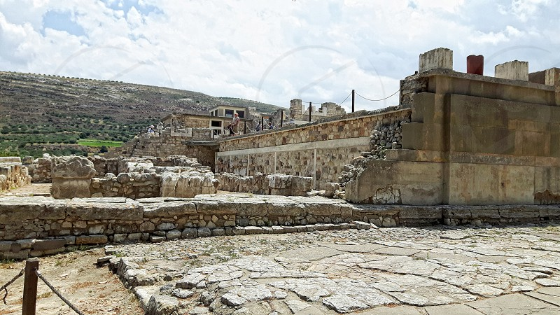 Knossos on Crete. People visiting knossos. photo