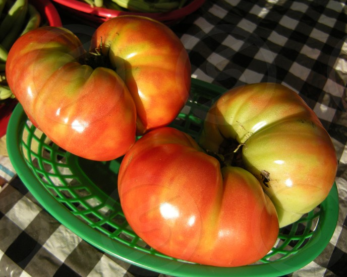 Heirloom tomatoes with wrinkles photo
