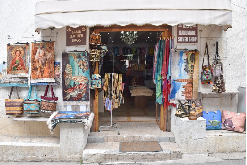 Local store with leather textile and bags in Cyprus photo